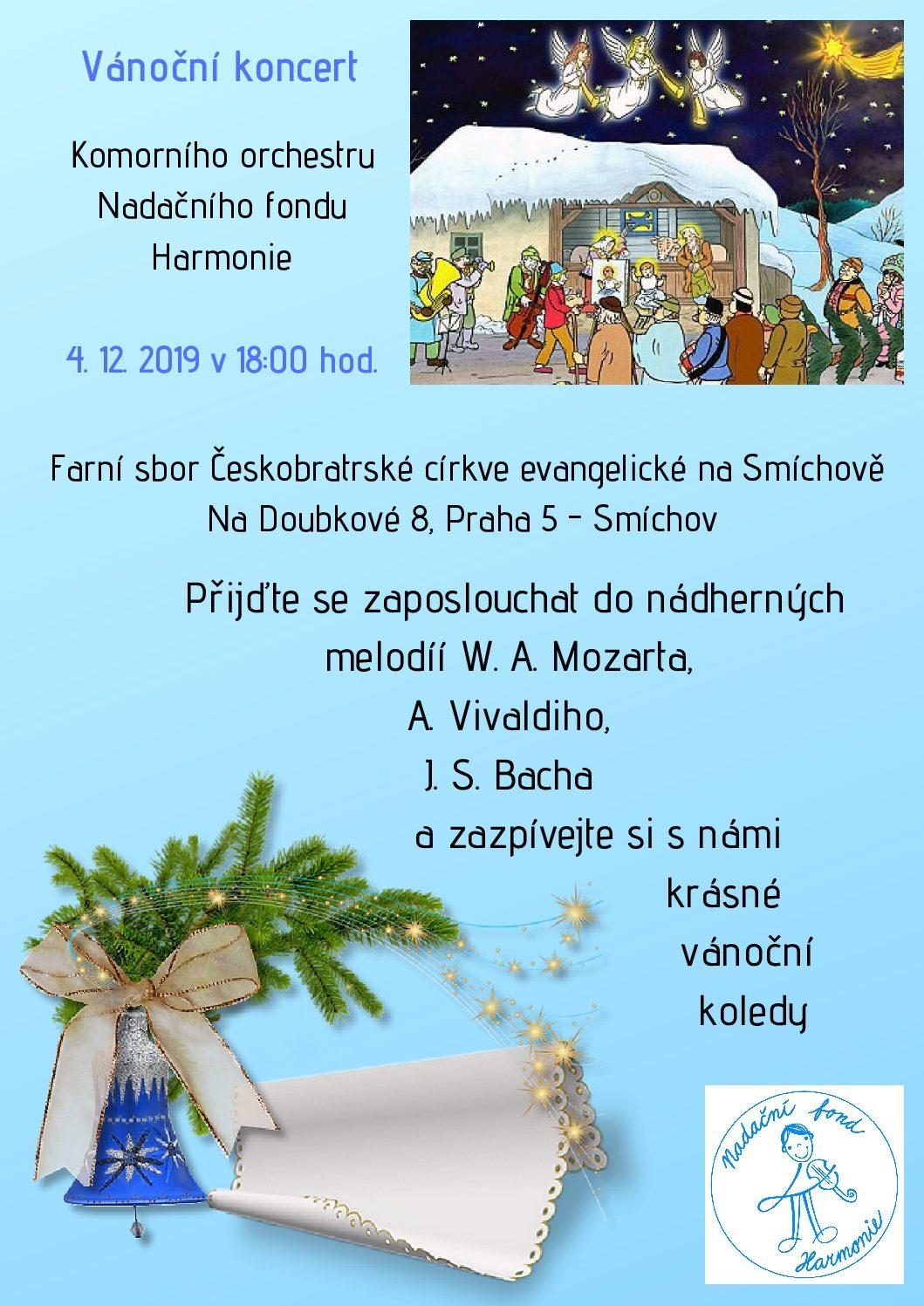Vánoční koncert Komorního orchestru NFH v kostele Českobratrské církve evangelické 4. 12. 2019 v 18.00 hodin