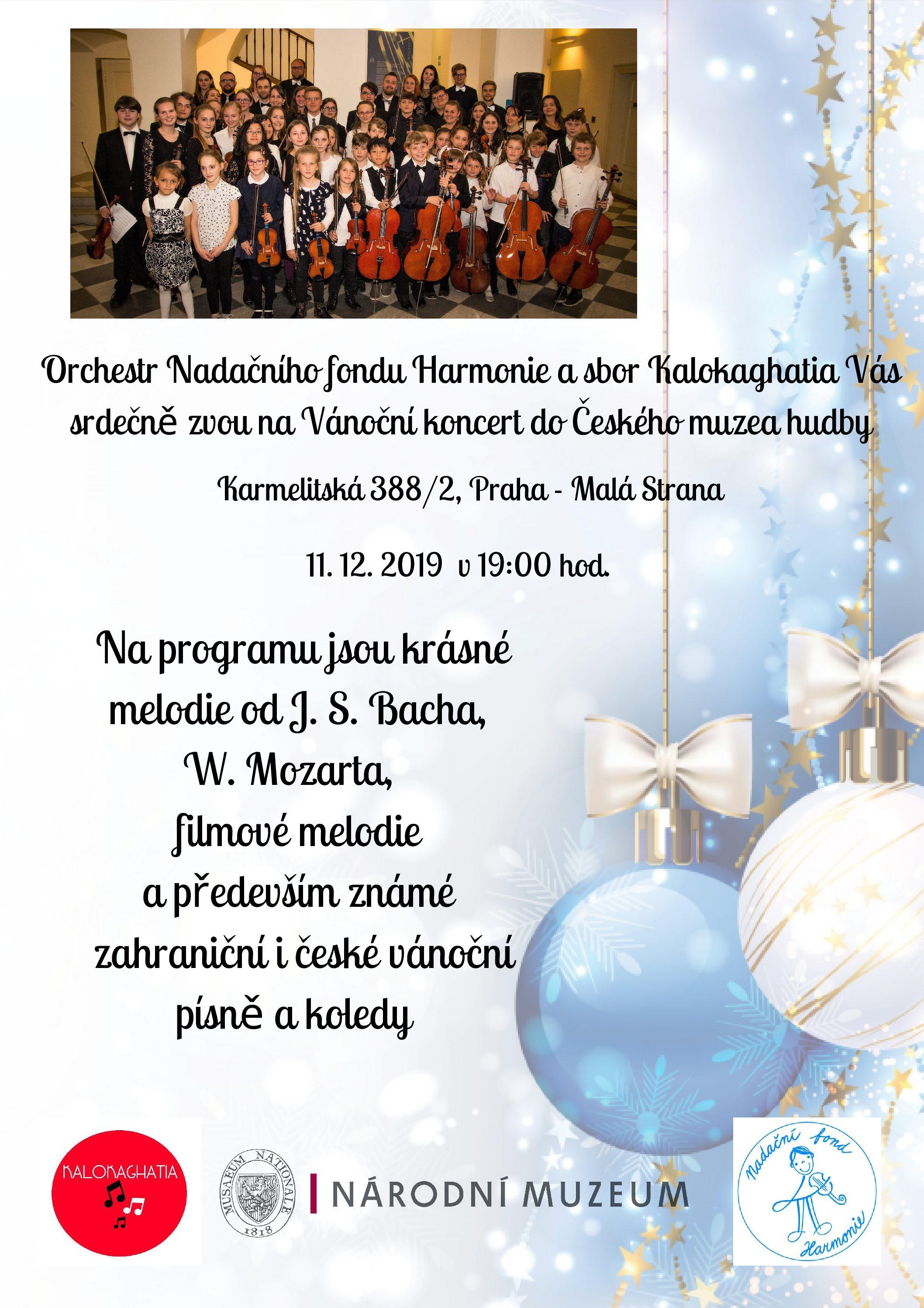 Vánoční koncert Orchestru NFH v Českém muzeu hudby 11. 12. v 19.00 hodin