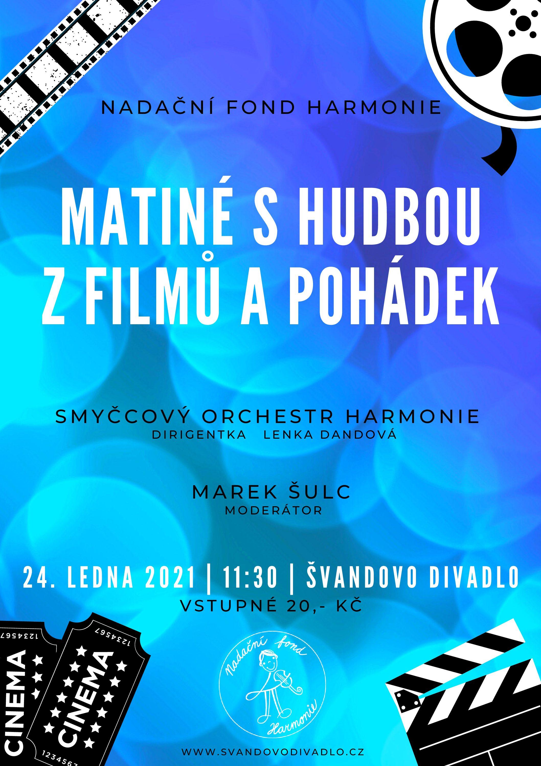 Matiné s hudbou z filmů a pohádek – ZRUŠENO – náhradní termín bude včas oznámen.